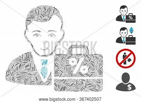 Line Collage Tax Accounter Icon United From Narrow Elements In Different Sizes And Color Hues. Line