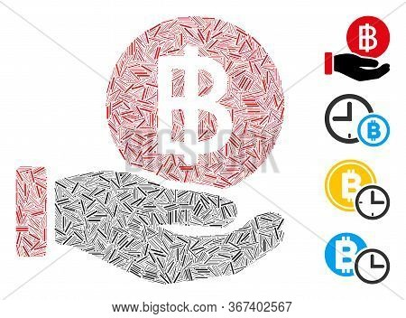 Linear Mosaic Thai Baht Coin Payment Icon Composed Of Thin Items In Various Sizes And Color Hues. Ir