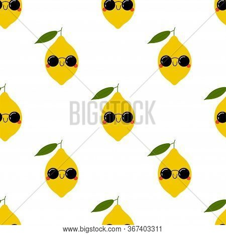 Kawaii Cartoon Limon In Sunglasses. Colored Seamless Vector Patterns In Flat Style. Isolated Pattern