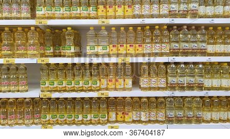 Bangkok Thailand -  September 1, 2019 : Cooking Oil Or Palm Oil On Shelf In The Store Shelf At Big C