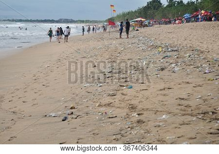 Bali, Indonesia - March 25 : Garbage From Indonesian People And Balinese And Foreign Travelers Peopl