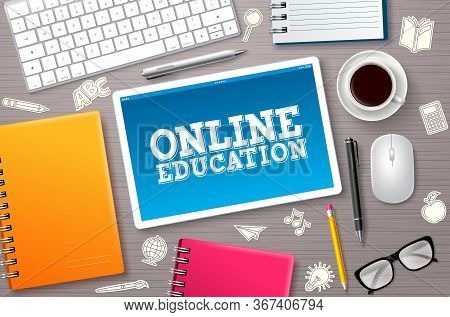 Online Education Elearning Vector Banner. Elearning Online Education Text In Tablet's Screen With Sc