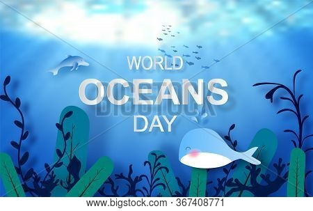 Drop Of Water Concept Of World Oceans Day. Celebration Dedicated To Help Protect Sea Earth And Conse