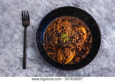 Plant-based Food, Vegan Baked Potatoes With Beans And Lentil Curry