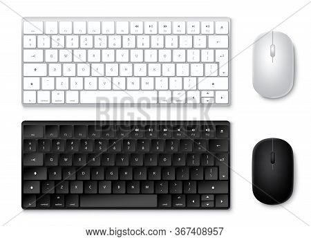 Keyboard And Mouse Vector Set. 3d Realistic Keyboards And Mouse In Black And White Colors With Top V