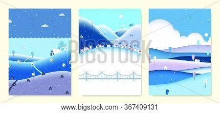 Winter Scenery Landscape, Small House On The Hill With Sea, Seaside Small Village With Mountains And