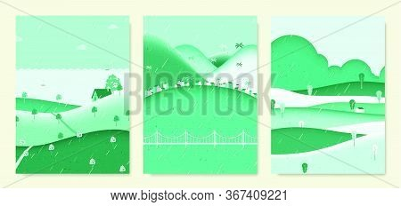 Rainy Scenery Landscape, Small House On The Hill With Sea, Seaside Small Village With Mountains And