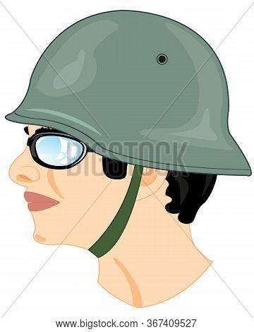 Head Men In German Helmet Type From The Side