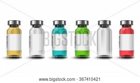 Vaccine Bottle Vector Set. Vaccine Bottles Mockup Template With Various Color Isolated In White Back