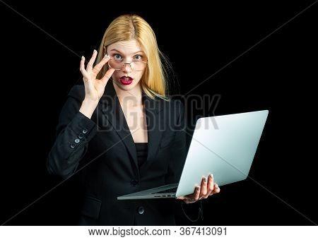 Sensual Secretary Business Woman Holding Laptop, Black Isolated. Gorgeous Blond Secretary Woman Work