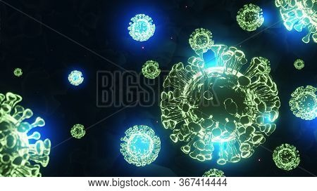 3d Image Of A Virus Against The Background, Coronavirus 2019-ncov, Novel Coronavirus Concept And Asi
