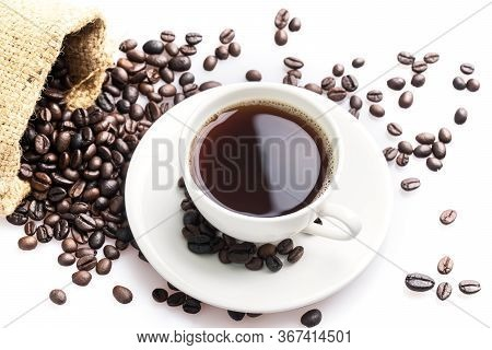 Hot Coffee Cup And Beans On A White Background. Coffee Time And Breakfast At Morning Time.