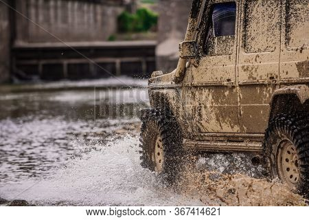 Road Adventure. Adventure Travel. Expedition Offroader. Travel Concept With Big 4x4 Car. Off-road Ve