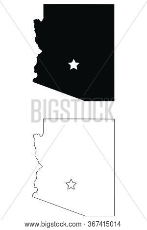 Arizona Az State Map Usa With Capital City Star At Phoenix. Black Silhouette And Outline Isolated Ma