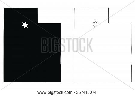 Utah Ut State Map Usa With Capital City Star At Salt Lake City. Black Silhouette And Outline Isolate