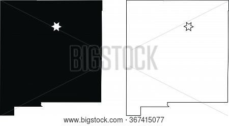 New Mexico Nm State Map Usa With Capital City Star At Santa Fe. Black Silhouette And Outline Isolate