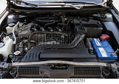 Novosibirsk/ Russia - May 03 2020: Nissan Teana,car Engine Close-up. Internal Combustion Engine, Car