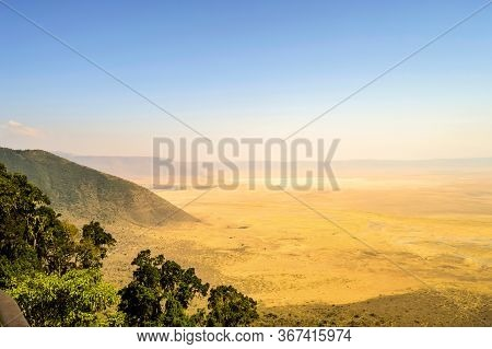 Elevated View Of The Ground Of The Ngorongoro Crater From The Southern Edge Of The Crater. Looking T
