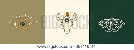 A Set Of Mystical And Esoteric Logos In A Trendy Minimal Linear Style. Vector Emblems Butterfly, Cow