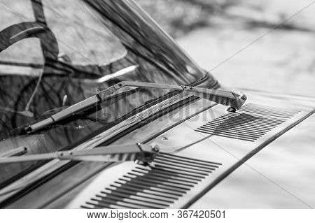 Rarity Car Wipers. Monochrome Old Style Photo.
