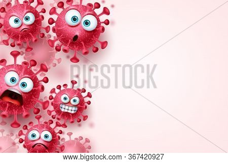 Covid-19 Corona Virus Vector Template Background. Ncov Corona Virus Background With Scary And Angry