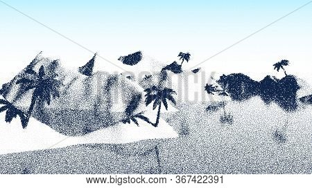 Beach Or Tropical Coast Landscape With Palm Tree And Mountains Over Sea In Retro Dotwork Style