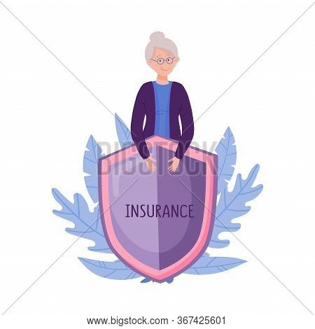 Smiling Senior Woman In Glasses Standing Behind The Shield Vector Illustration