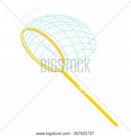 Butterfly Net On Side View Cartoon Isolated Illustration, Hunting For Flying Insects With Net, Child