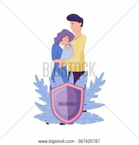 Smiling Man And Woman Standing Behind The Shield And Holding Little Baby Vector Illustration