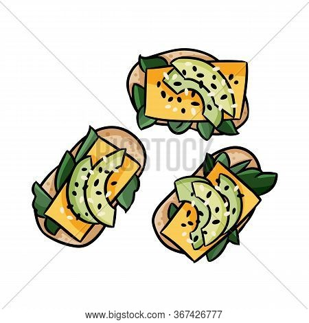 Avocado Toasts With Cheese Cute Cartoon Doodles. Detailed Avocado Vector Sandwiches Isolated On Whit