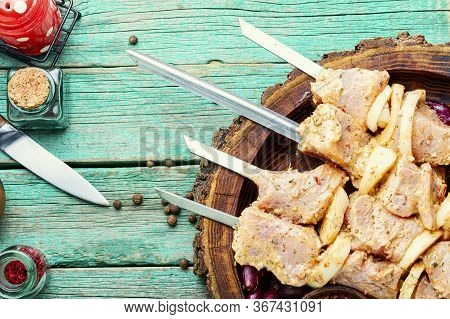 Marinated Meat On Skewers