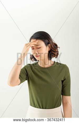 Portrait Stressed Sad Young Woman Standing - Image