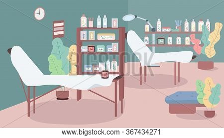 Waxing Salon Flat Color Vector Illustration. Workplace In Cosmetology Shop. Beds For Hair Removing P