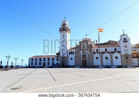 Church Basilica Of Candelaria And Spain Flag On Canary Island Tenerife