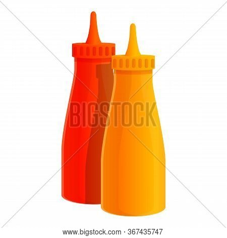 Ketchup Mustard Bottle Icon. Cartoon Of Ketchup Mustard Bottle Vector Icon For Web Design Isolated O