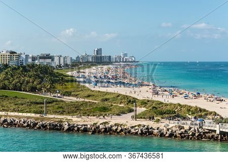 Miami, Fl, United States - April 28, 2019: View Of Miami Beach And South Point Park From A Cruise Sh