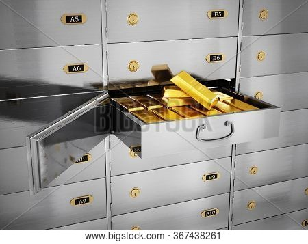 Gold Ingots Inside Private Bank Deposit Box. 3d Illustration.