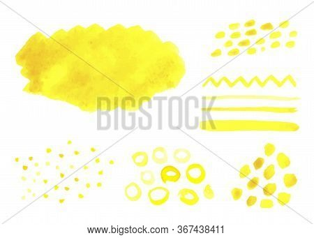 Set Of Yellow Watercolor Stains Isolated On A White Background. Different Brush, Stripes, Lines, Cir