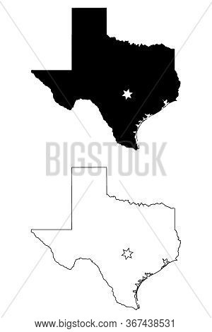 Texas Tx State Map Usa With Capital City Star At Austin. Black Silhouette And Outline Isolated Maps