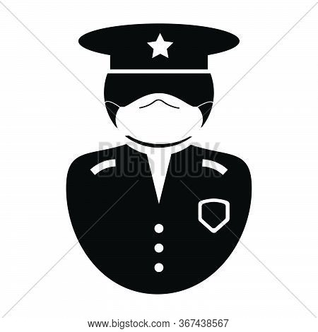 Police Officer Icon. Black And White Illustration Pictogram Icon Depicting Uniformed Law Enforcement