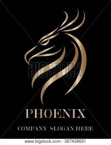 Gold Line Vector Logo Of Phoenix Head . It Shows Power And Strength.