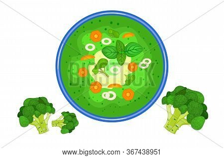 Broccoli Soup Isolated On White Background. Hot Cream Broccoli And Cheddar Cheese Soup In Plate Top