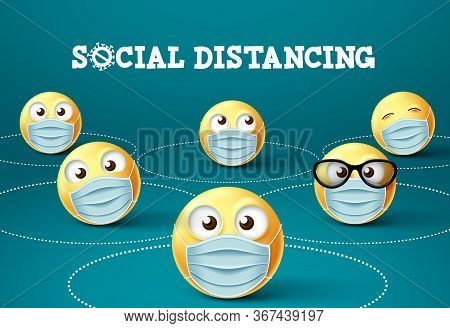 Emoticon Social Distancing With Face Mask Vector Sign. Social Distance Of Emoticons Or Emoji With Fa