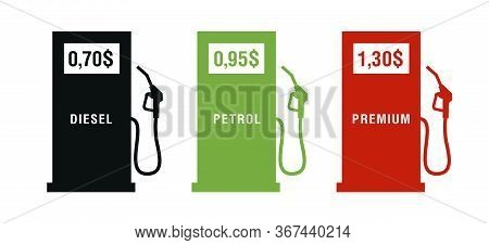 Set Of Icons Of Gas Station With Petrol Gun And Price For The Diesel Or Petrol, Three Colors, Red, G