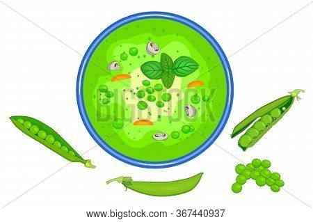 Bowl Of The Green Peas Soup Isolated On White Background. Tasty Hot Vegetable Soup With Vegetable An