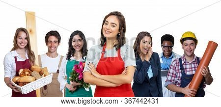 Caucasian Waitress With Group Of International Apprentices Isolated On White Background For Cut Out