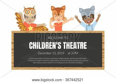 Welcome To Childrens Theatre Banner Template, Talented Children In Animals Costumes Showing Their Ar