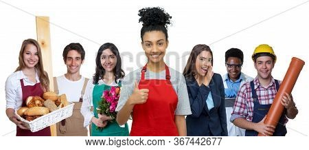 Young Hispanic Waitress With Group Of International Apprentices Isolated On White Background For Cut