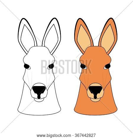 Australian Kangaroo. Head Of A Black And White Cartoon Character With A Color Pattern. Coloring Book