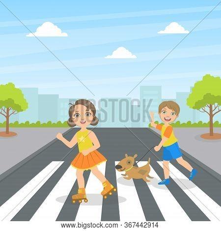 Cute Kids And Dog Using Cross Walk To Cross Street, Children Walking On The Street Vector Illustrati